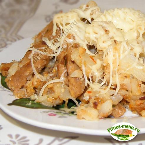 Соевое мясо с цветной капустой под сыром