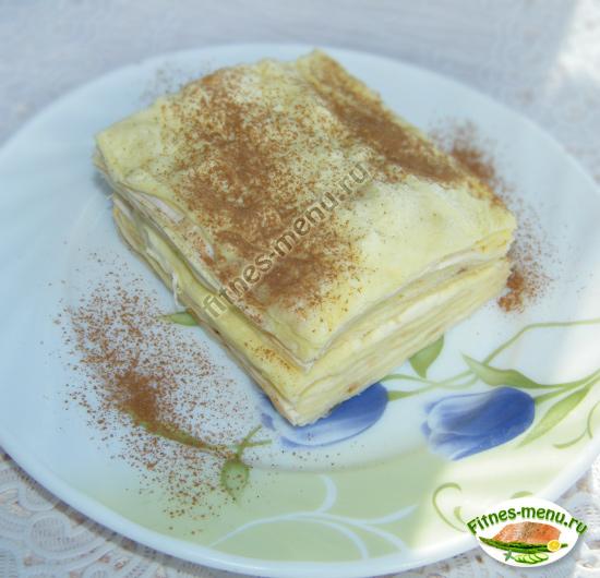Творожный пирог из лаваша посыпать какао или корицей