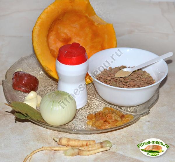 Продукты для тыквы, тушёной с чечевицей