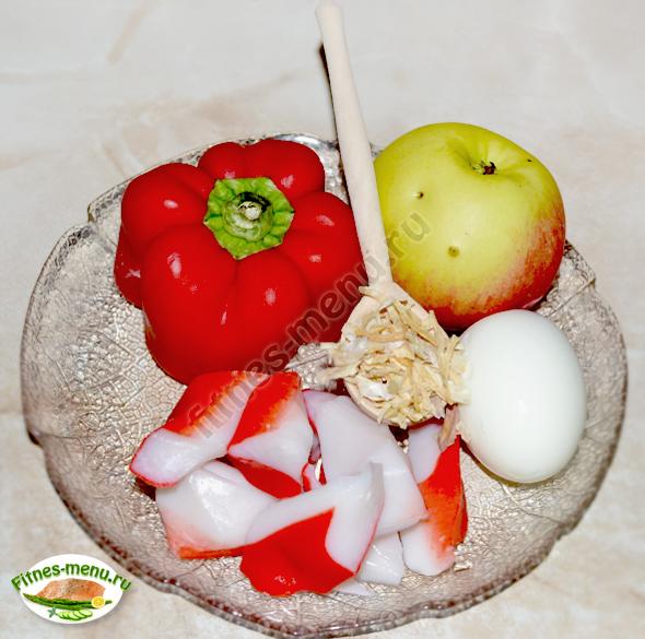 Салат из крабовых палочек с перцем