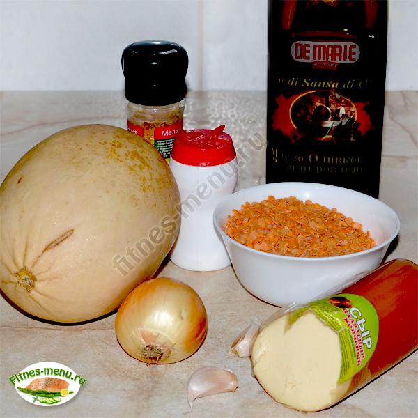 Продукты для супа из чечевицы и кабачка с сыром